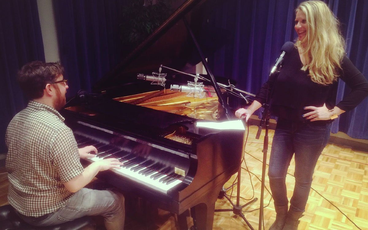 Nick Carswell, of Carswell & Hope, and Ashley Davis prepare for their show at Liberty Hall on Thursday, March 16.