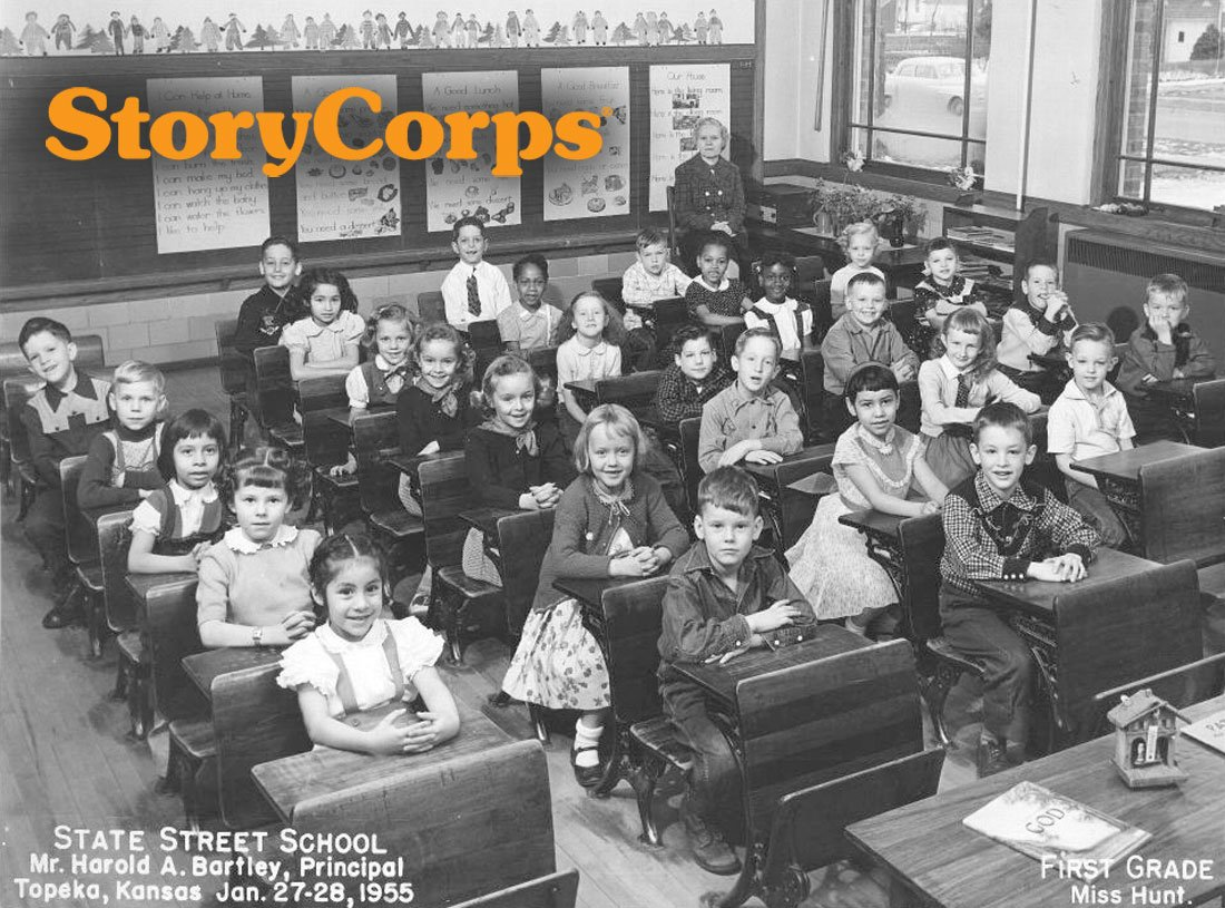 The first grade class at State Street Elementary School, taught by Miss Hunt. It was taken in January 1955, shortly after Topeka elementary schools were racially integrated in the wake of the Supreme Court ruling in the Brown v. Board of Education case. Prior to this decision, which made segregated schools unconstitutional, State Street had been a school for white children only. (Photo Courtesy of Kansas Historical Society / kansasmemory.org)