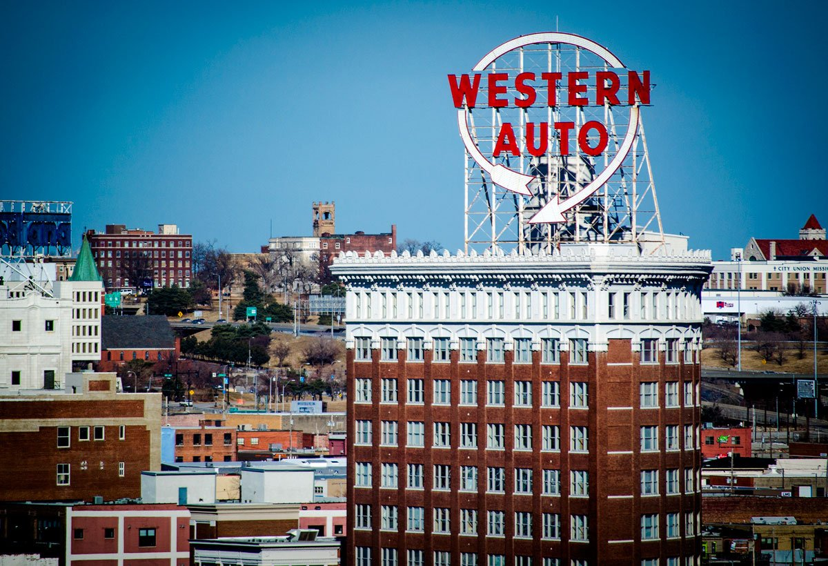 The Western Auto Building, also known as the Coca-Cola Building or the Candler Building, is located at 2107 Grand Boulevard, in the Crossroads neighborhood of Kansas City, Mo. The twelve-story building was built for the Coca-Cola Company in 1914 and later became the headquarters of the Western Auto Supply Company. (Flickr Photo by Matt Meier)