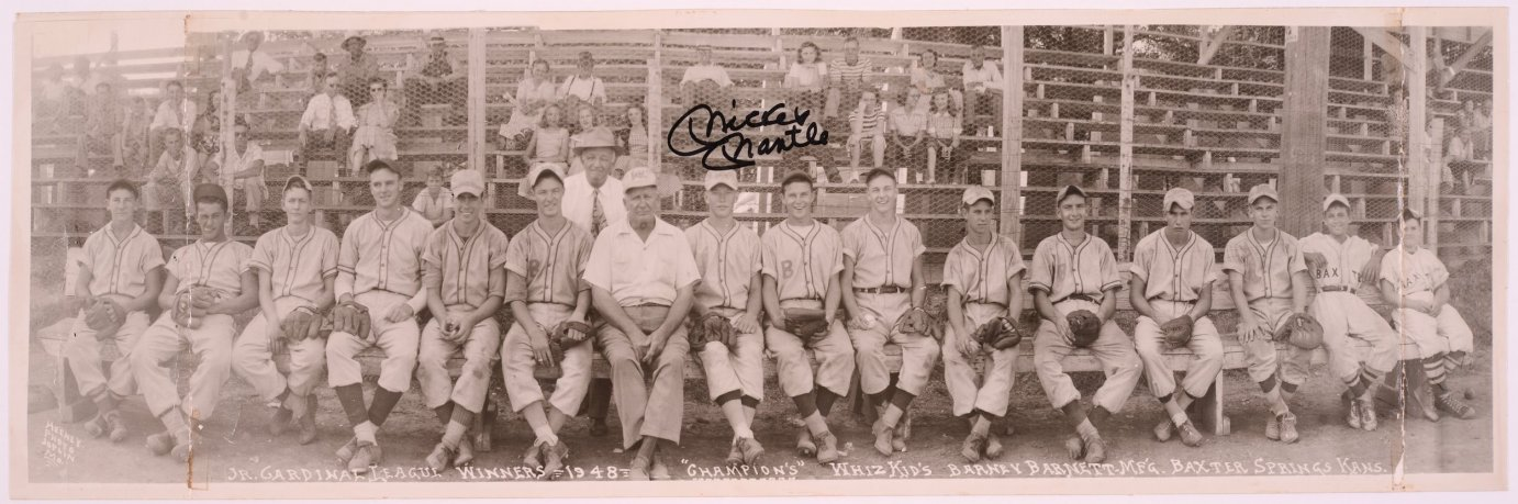 Mickey Mantle (labeled) played shortstop on The Whiz Kids, the 1948 Cardinal Junior League championship team from Baxter Springs, Kan. The original photograph was autographed by Mantle in 1986. (Photo Courtesy of Kansas Historical Society / kansasmemory.org)