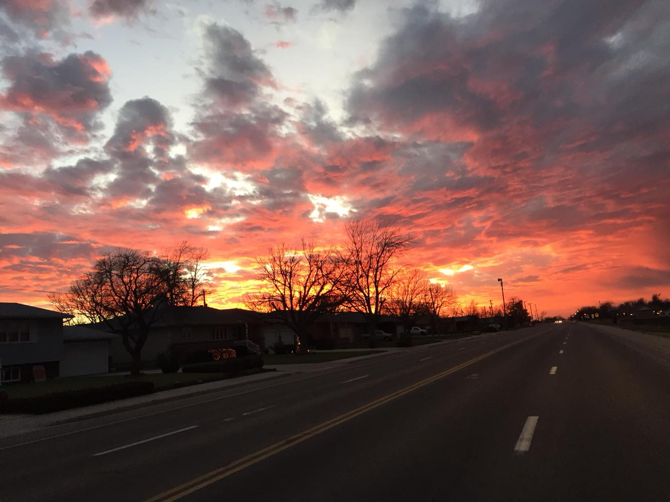 Just another stunning Kansas sunset, this one seen from 24th Street in Great Bend. (Photo by J. Schafer)