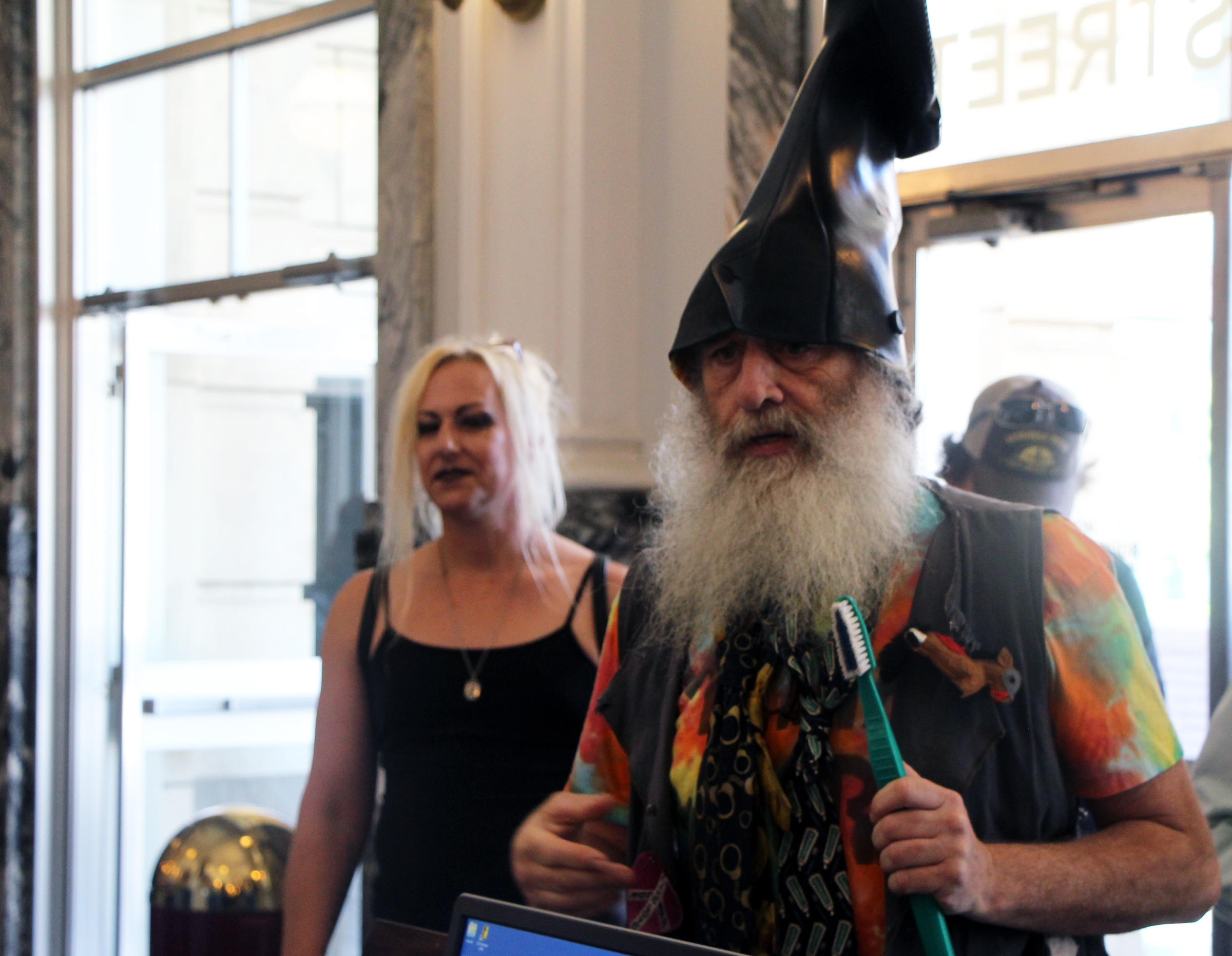 Vermin Supreme in Topeka when he filed to run for office. (Photo by the Kansas News Service)