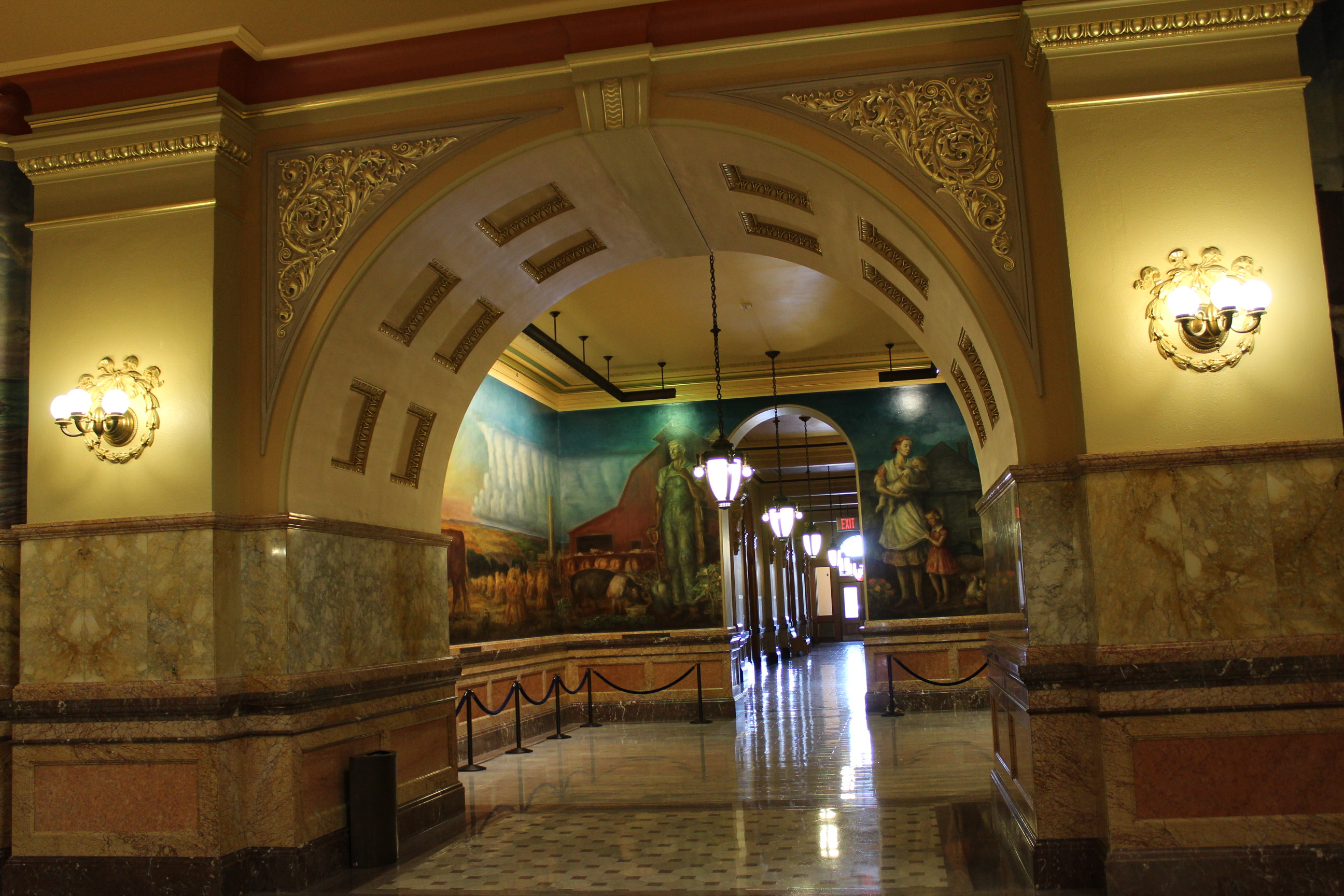The corridors of the Kansas Statehouse are filled with beautiful murals and statues. (Photo by J. Schafer)