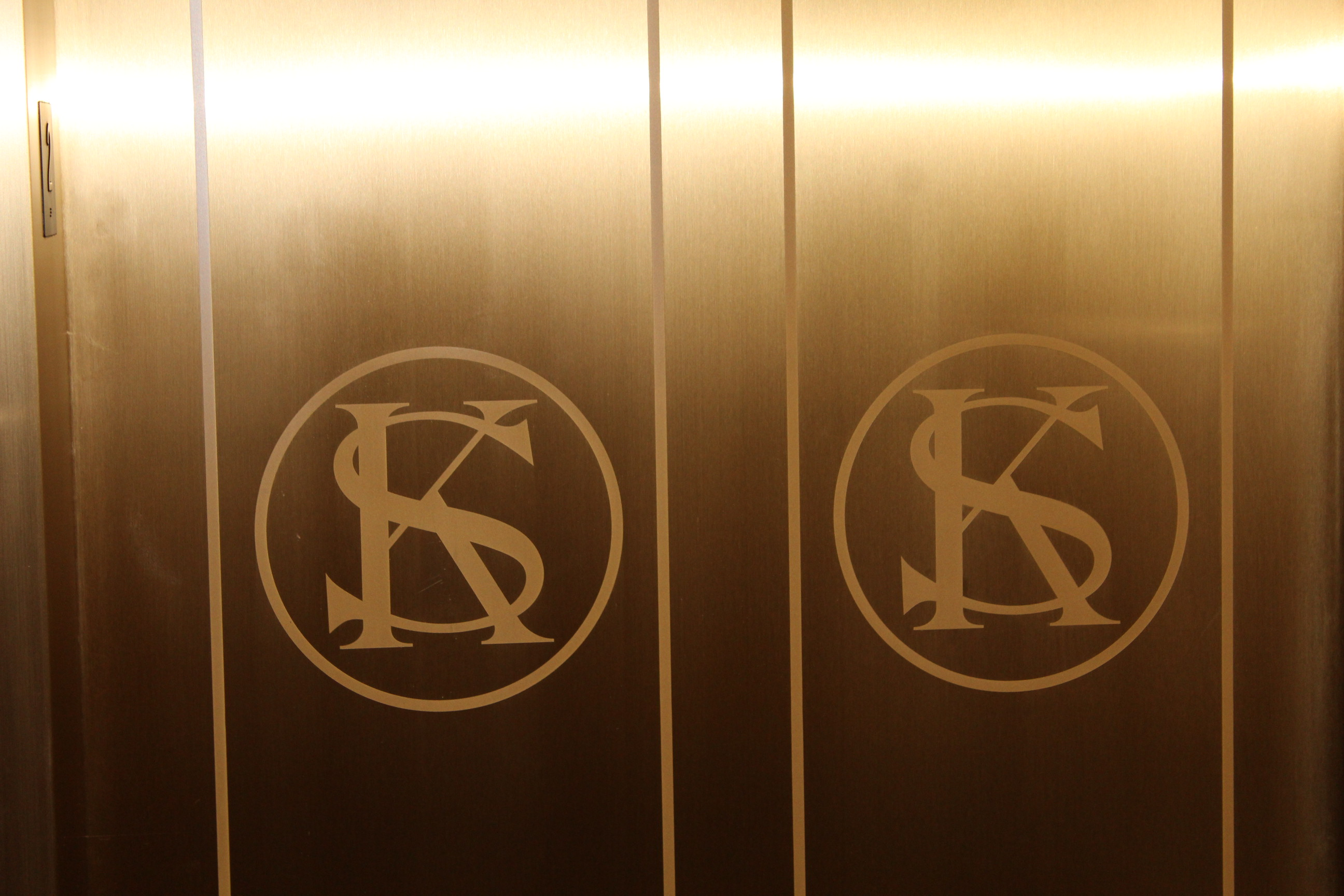 Elevator doors, inscribed with the initials K.S. for former Governor Kathleen Sebelius.  Just kidding.  They stand for Kansas! (Photo by J. Schafer)