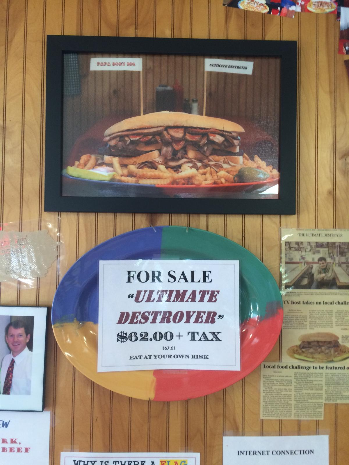 Although the Ultimate Destroyer has attracted hundreds of adventurous eaters, only five people have finished it.(Photo credit: Alex Smith, KCUR)