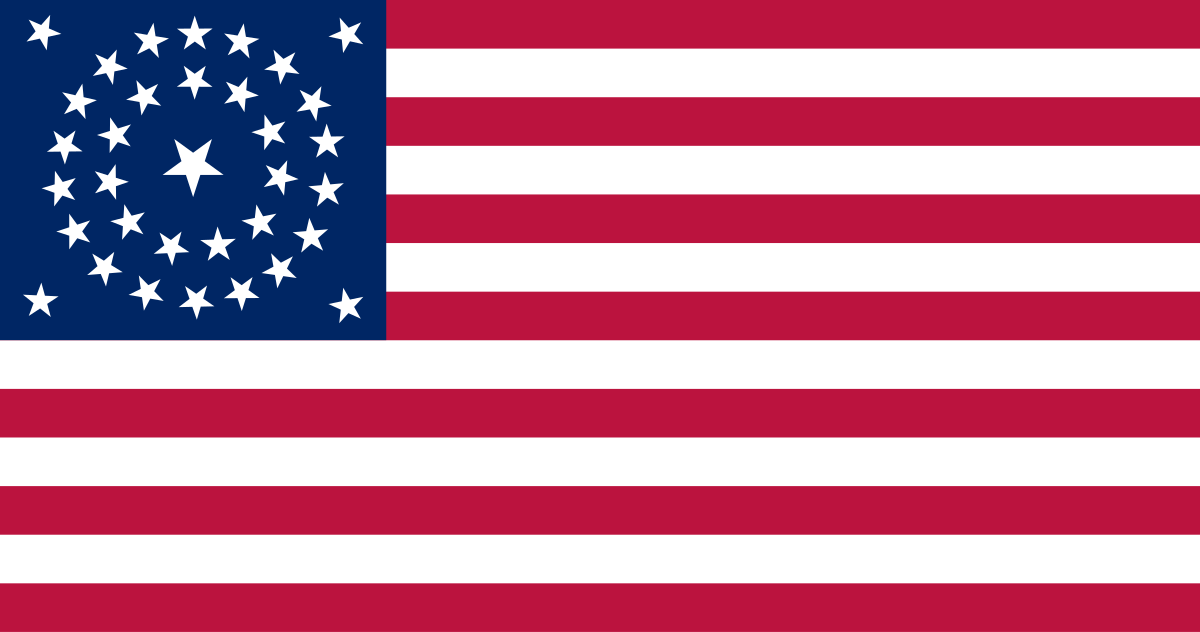 Union flag (1861-1863), one of several designs used during the American Civil War.