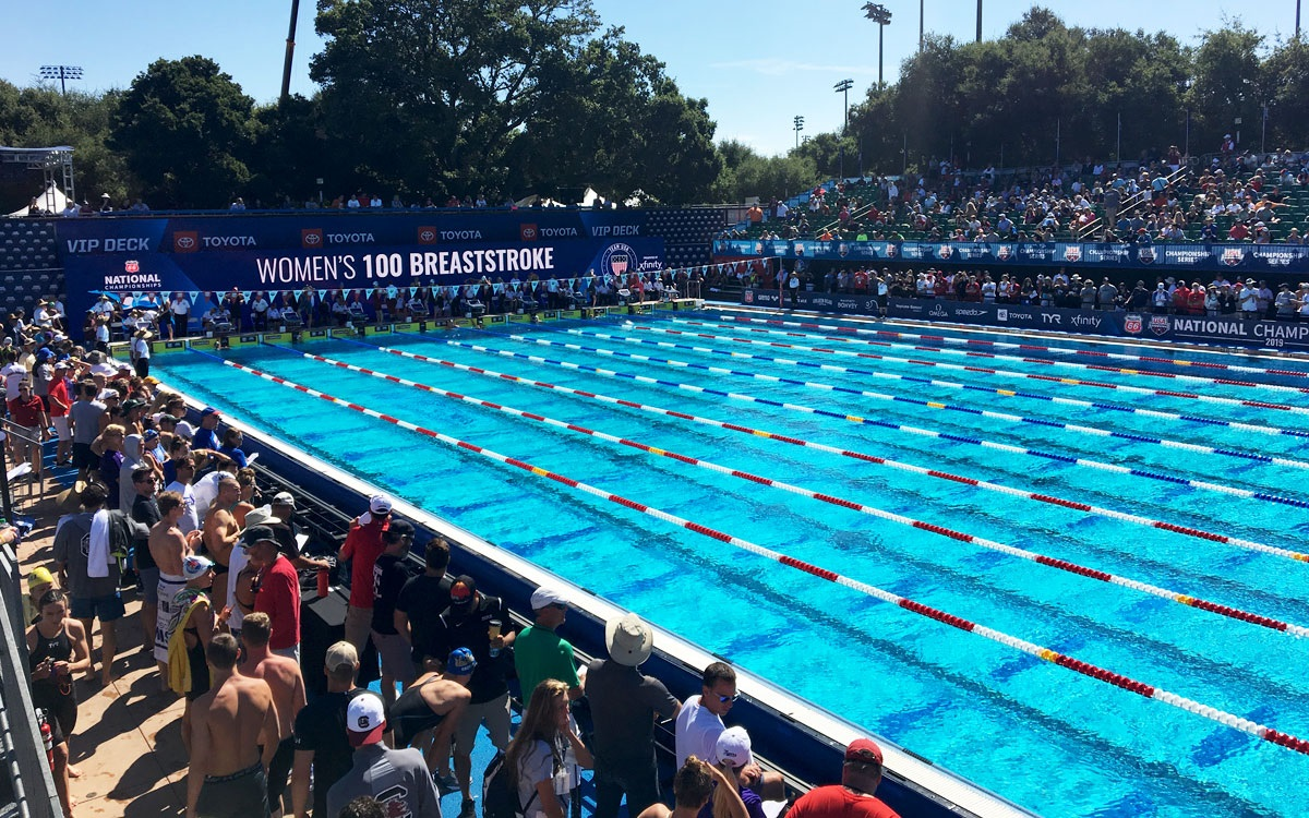 The Stanford swimming pool, where Kate Steward competed in the U.S. championships last summer (2019).  Before that meet, she had already qualified to swim in this summer's Olympic trials. (Photo by Greg Echlin)