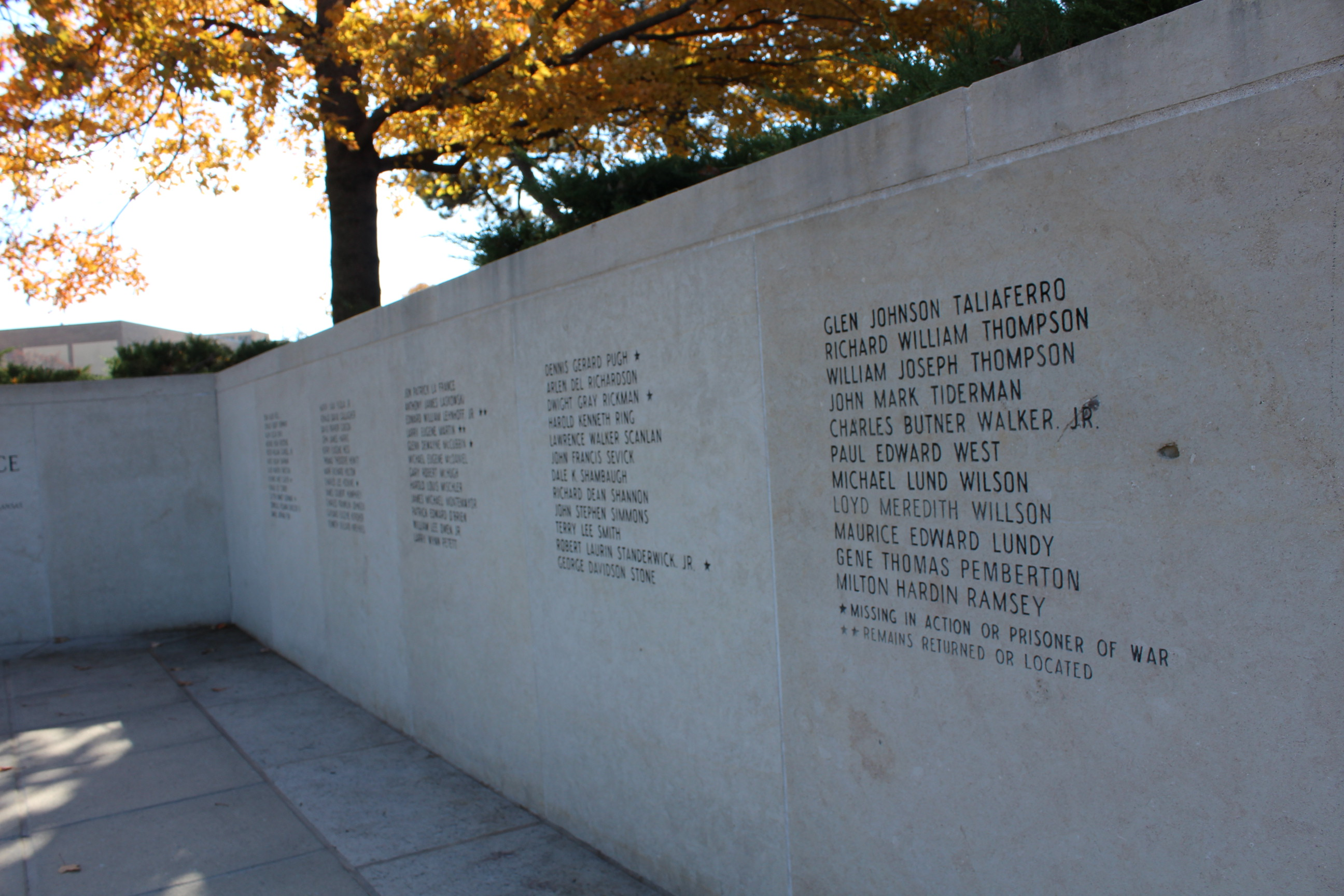 This section of the KU Vietnam War memorial lists the 57 names of students and alumni killed or listed as missing in Vietnam. (Photo by J. Schafer)