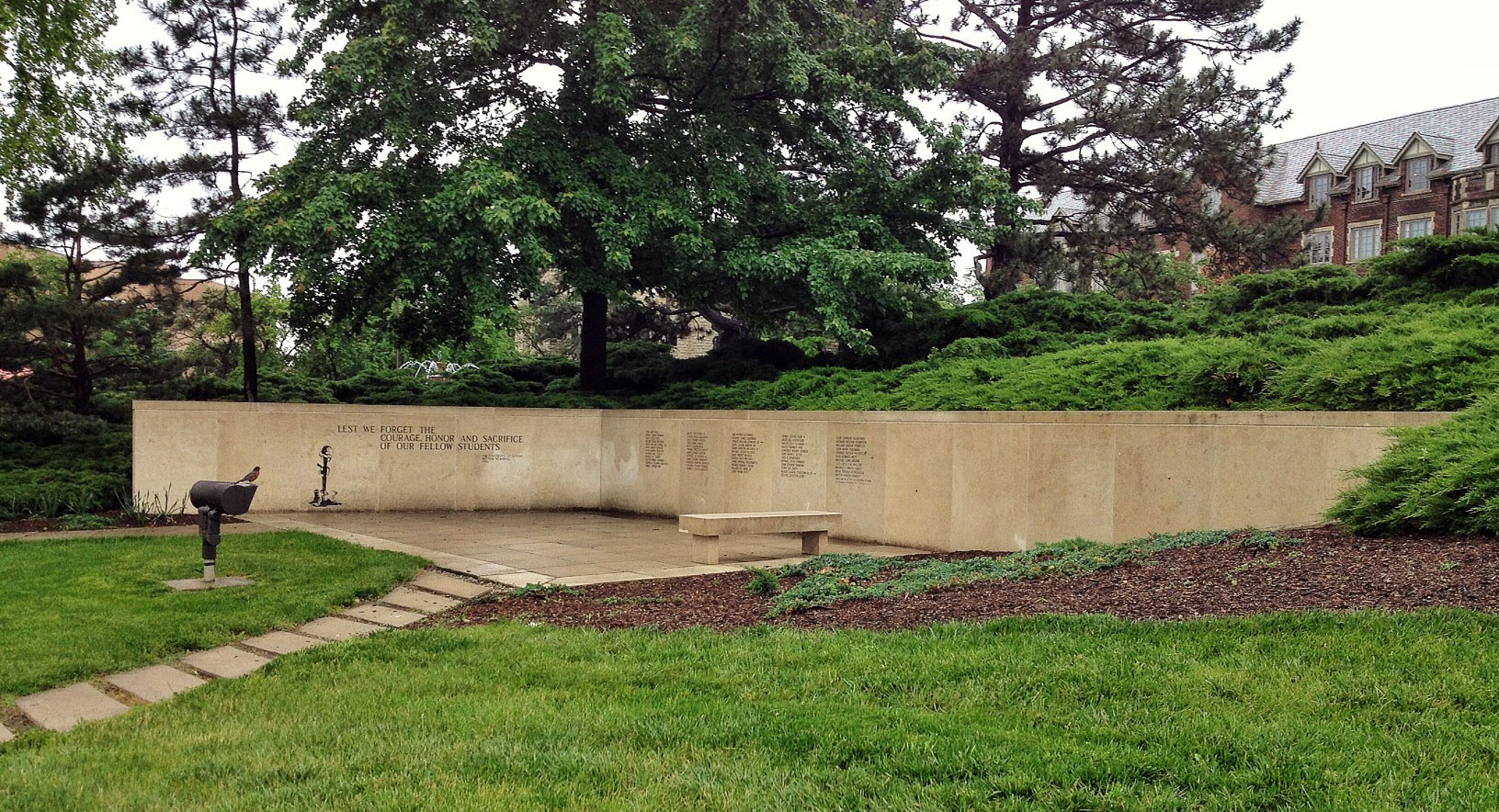 On May 25, 1986, student leaders unveiled the KU Vietnam Memorial in Marvin Grove on the University of Kansas campus. (Photo by J. Schafer)