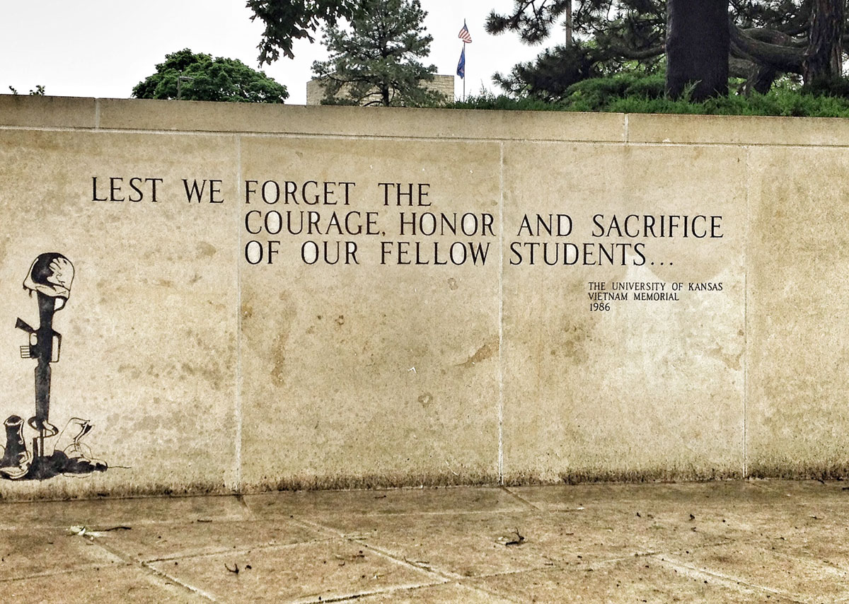 The memorial honors the 57 KU students and alumni who gave their lives in service to their country during the conflict in Vietnam. (Photo by J. Schafer)