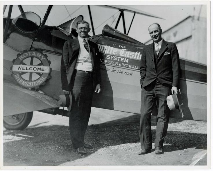 Walt Anderson and Billy Ingram, founders of White Castle Systems, Inc., stand in front of their company airplane. The airplane was purchased in 1927 so they could personally visit all of the White Castle restaurants in their expanding chain, ca. 1927 (Photo via Ohio History Connection)