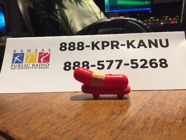 A Wiener Whistle, spotted inside Pledge Central at KPR, where staffers are encouraging you to call KPR with a pledge.  (Photo by J. Schafer)