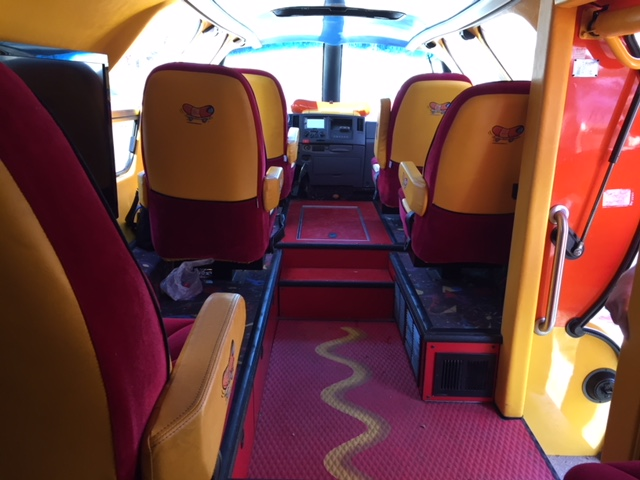 Plush interior of the Wienermobile, complete with leather seats. (Photo by J. Schafer)