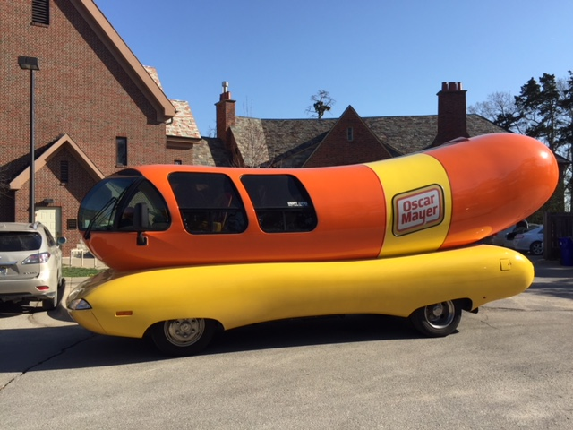 """The Wienermobile, seen here in the KPR parking lot, is driven by so-called """"Hotdoggers"""" - a pilot and co-pilot.  (Photo by J. Schafer)"""