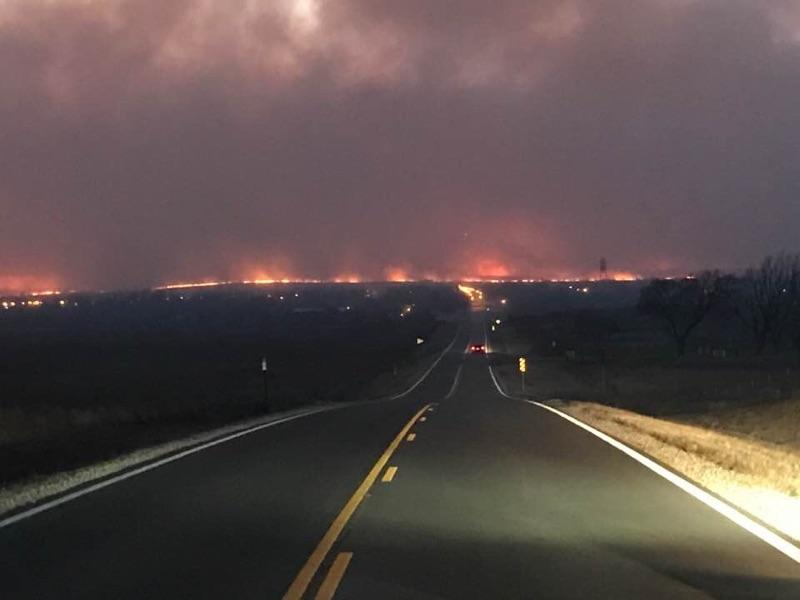Driving into hell. This photo was purportedly taken near Ashland, in southwest Kansas. (Unverified Photo posted on Facebook by residents of the area.)