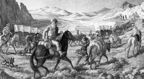 Depiction of William Becknell heading down the route that would come to be called the Santa Fe Trail.