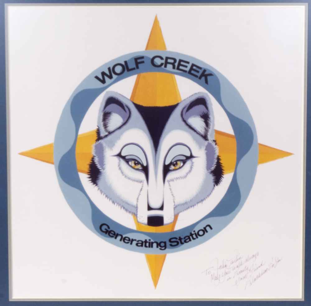 Kansas artist Blackbear Bosin incorporated Native American symbolism and mythology into his design for the Wolf Creek logo. (Kansas Historical Society)