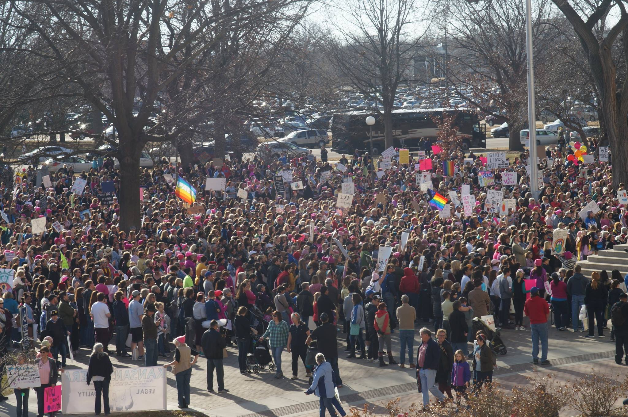 About 2,000 people gathered in Topeka Saturday to demonstrate against President Donald Trump. (Photo by Dan Mantyla)